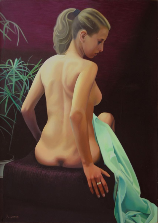 Nude  in red, Oil on canvas art - Image 0