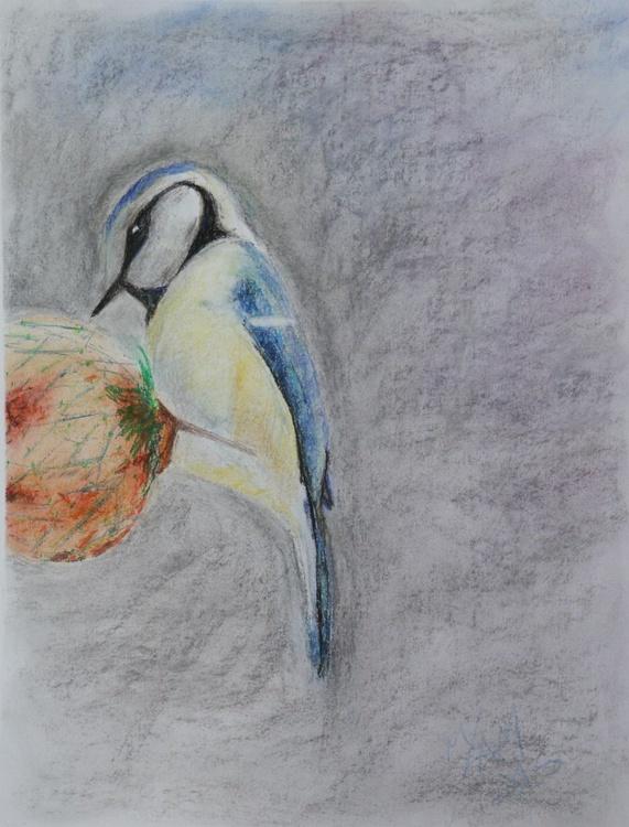 Bird on fat ball original pastel drawing - Image 0
