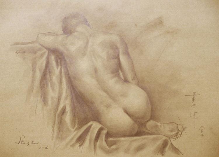ORIGINAL DRAWING PENCIL  ARTWORK MALE NUDE MAN ON BROWN PAPER#16-6-14 - Image 0
