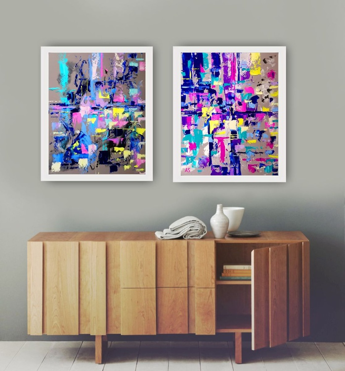 CRYSTALS ABSTRACT; SET OF TWO, FRAMED, FOR DECORATION HOME, OFFICE, RESTAURAUNT - Image 0