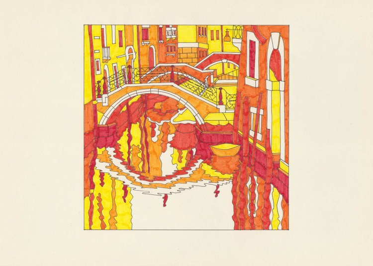 Canal crossed by there bridges - Red drawing - Image 0