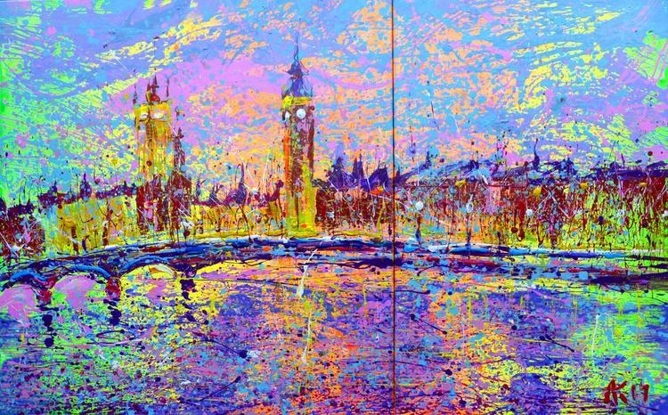 London, large painting 150x95 cm - Image 0