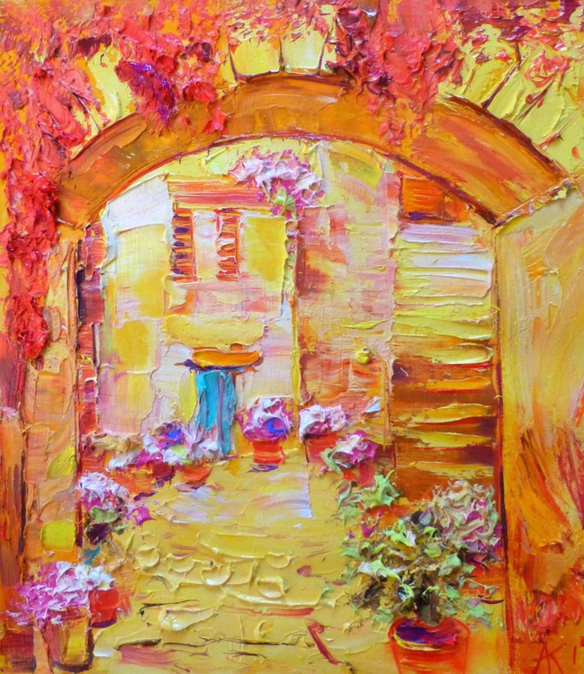 summer patio, oil painting 35x40 cm - Image 0