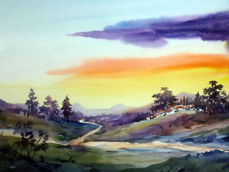 Beauty of Himalaya Sunset - Watercolor Painting