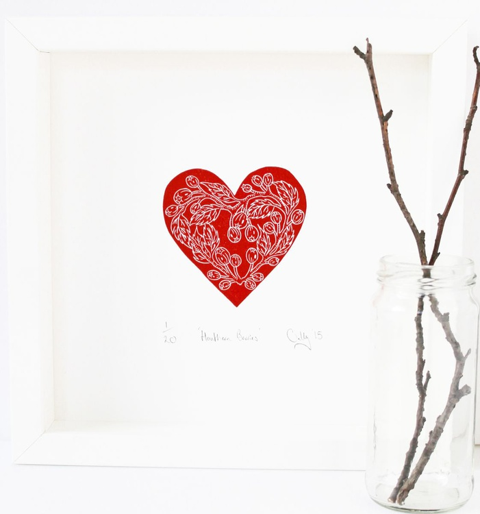 Limited edition Hawthorn Berries lino print - Image 0