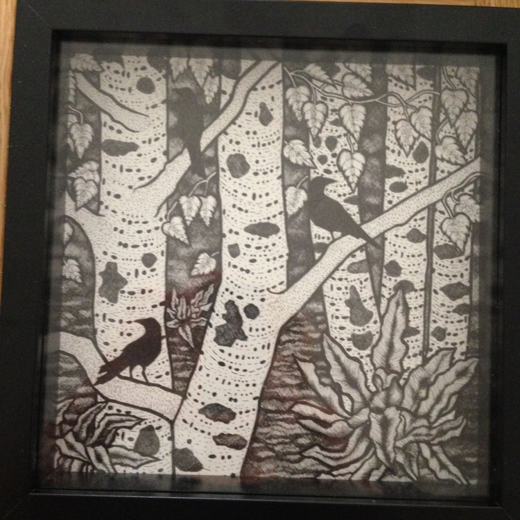Birch Forest with Seated Crows - Image 0