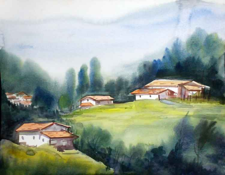 Morning Village- Watercolor on Paper -