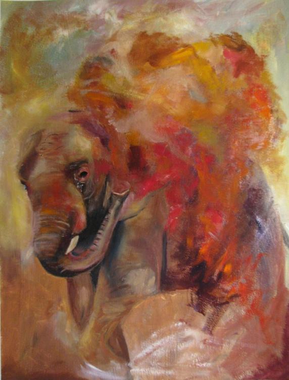 Red Elephant 18 x 24 - Image 0