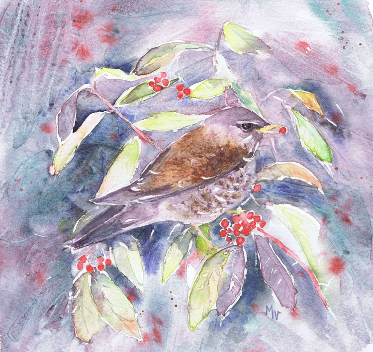 Fieldfare and Winter Berries - Image 0