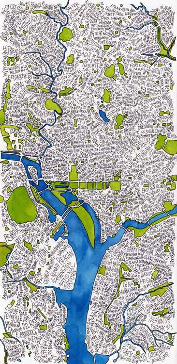 Washington DC Tall Word Map -