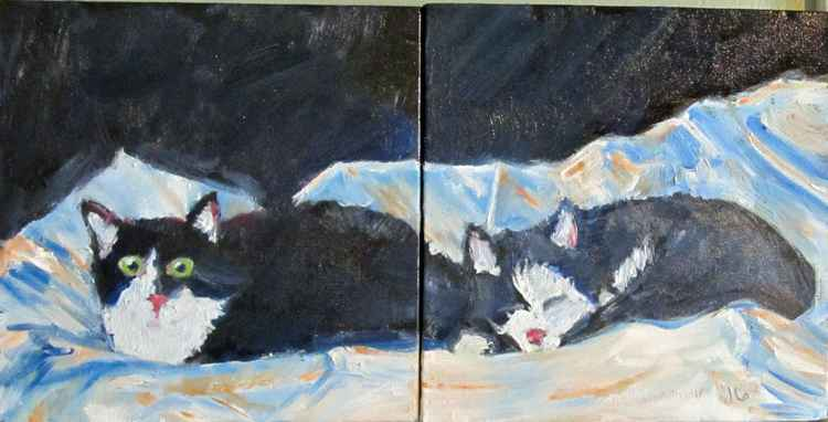 Diptych:  Tuxedo Cats Ling Ling and Myrtle -