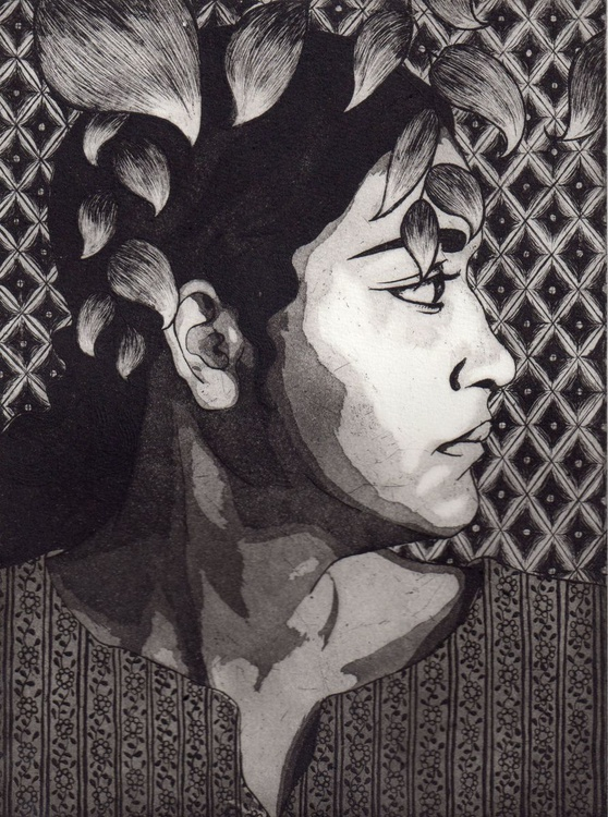 Portrait etching of a lady , black and white full of texture and pattern - Image 0