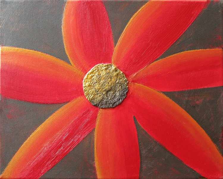 original abstract flower painting art canvas - 16 x 20 inches - Image 0
