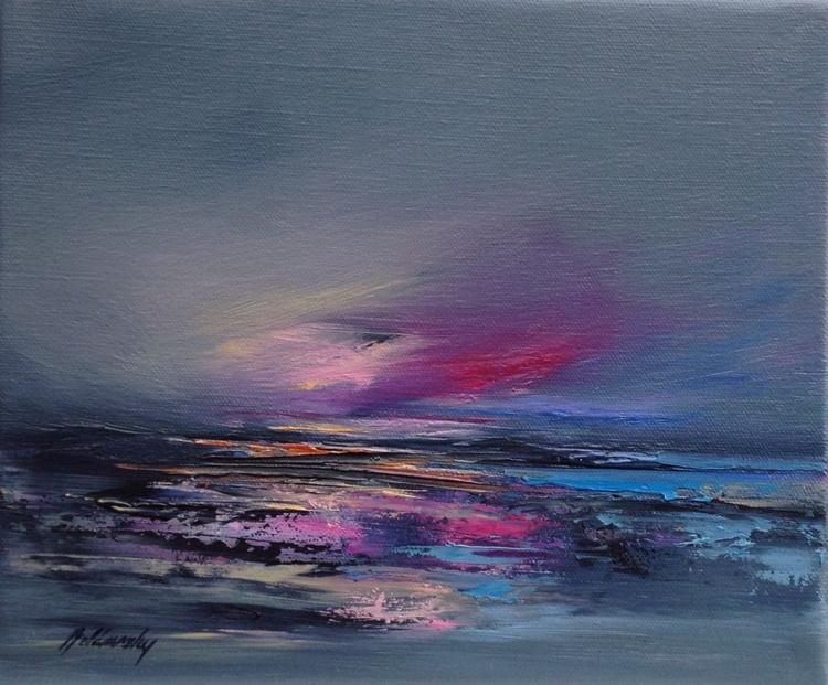Purple Mood - 25 x 30 cm, abstract landscape oil painting, gray, purple, magenta, orange - Image 0