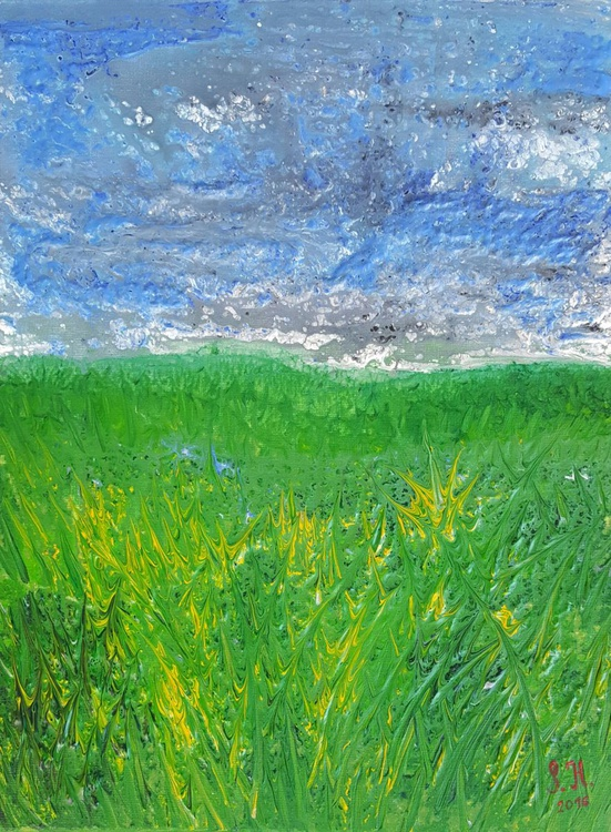 Summer break - landscape on stretched canvas, ready to hang, unique frothing technique, 30x40cm - Image 0