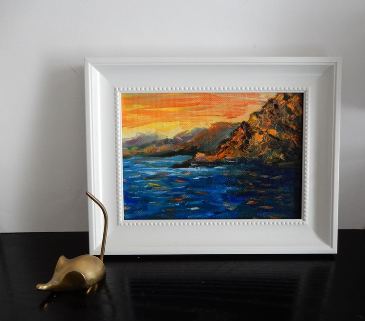 Seascape Sunset on the sea. Small painting on canvas. - Image 0