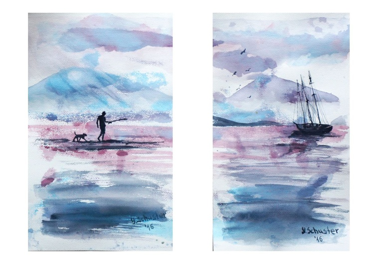 Sea stories.  Set of 2 watercolor paintings. Size 30*18 cm and 30*17 - Image 0