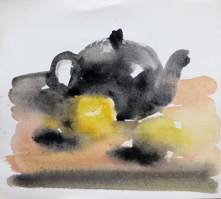Still Life with Teapot and Lemons, 21x18 cm - Image 0