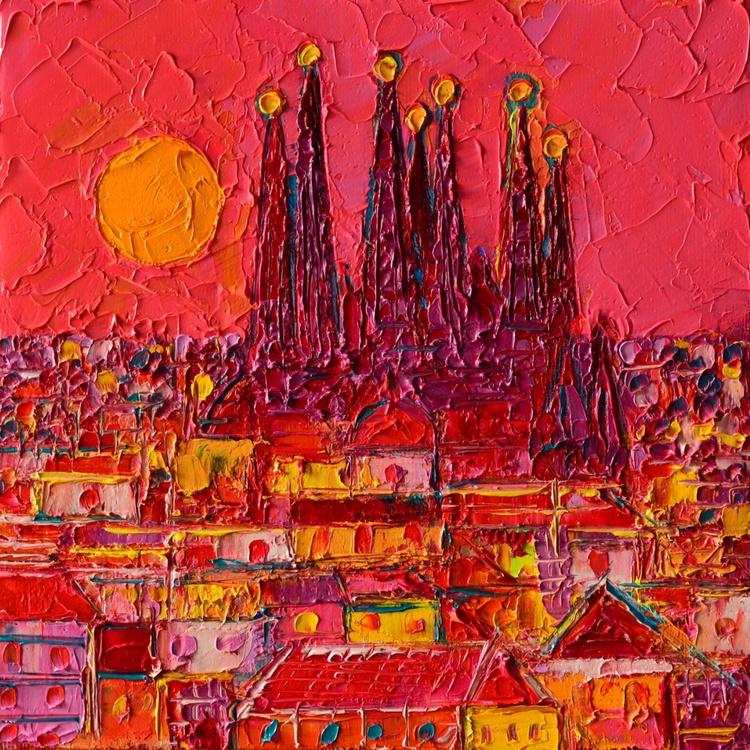 BARCELONA MOON ABSTRACT CITYSCAPE - Image 0