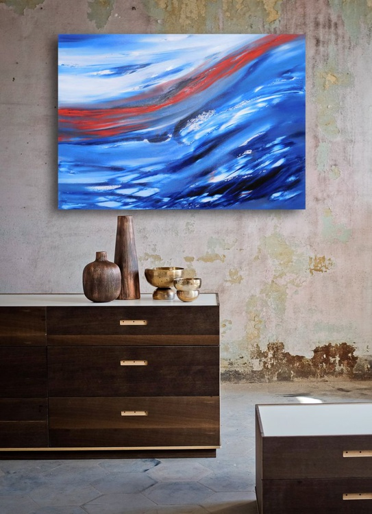 Iced tale - 70x50 cm,  Original abstract painting, oil on canvas - Image 0
