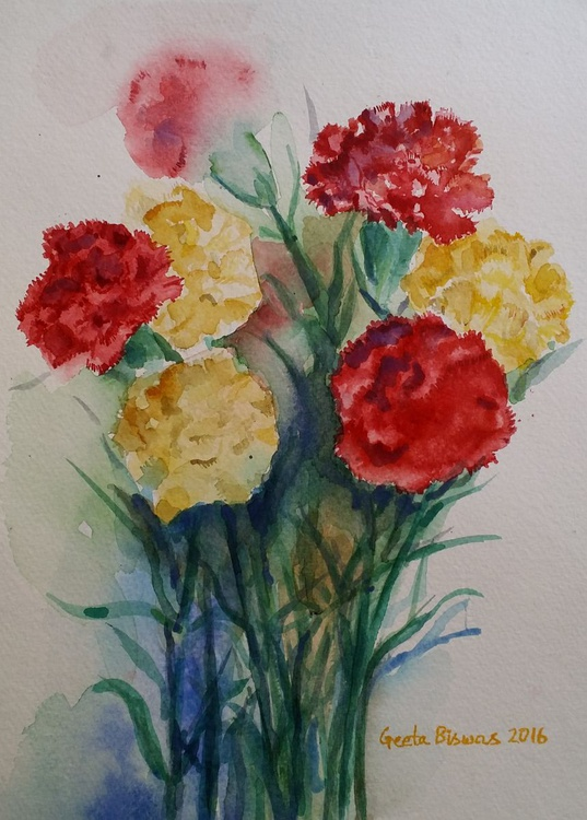 Carnation Flowers Still Life in watercolor - Image 0
