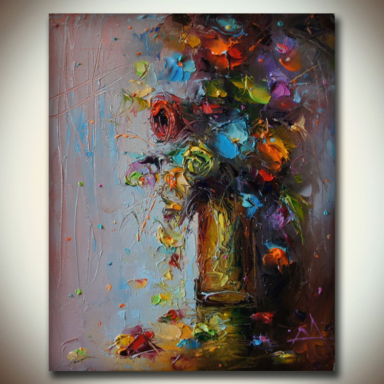 Colorfull composition 2 , Original oil painting on canvas, flowers art, Floral composition, free shipping - Image 0
