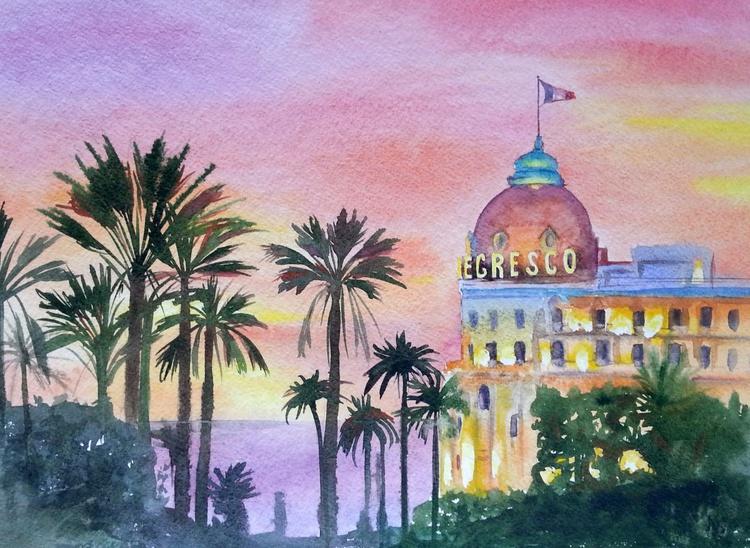 Original Watercolor – The Negresco Hotel, France, Nice, Cote d'Azur, French Riviera - Image 0