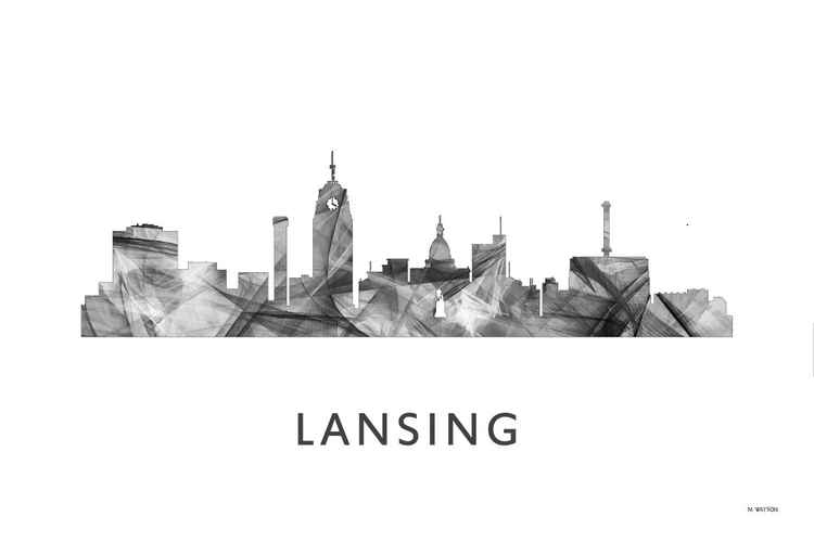 Lansing Michigan Skyline WB BW