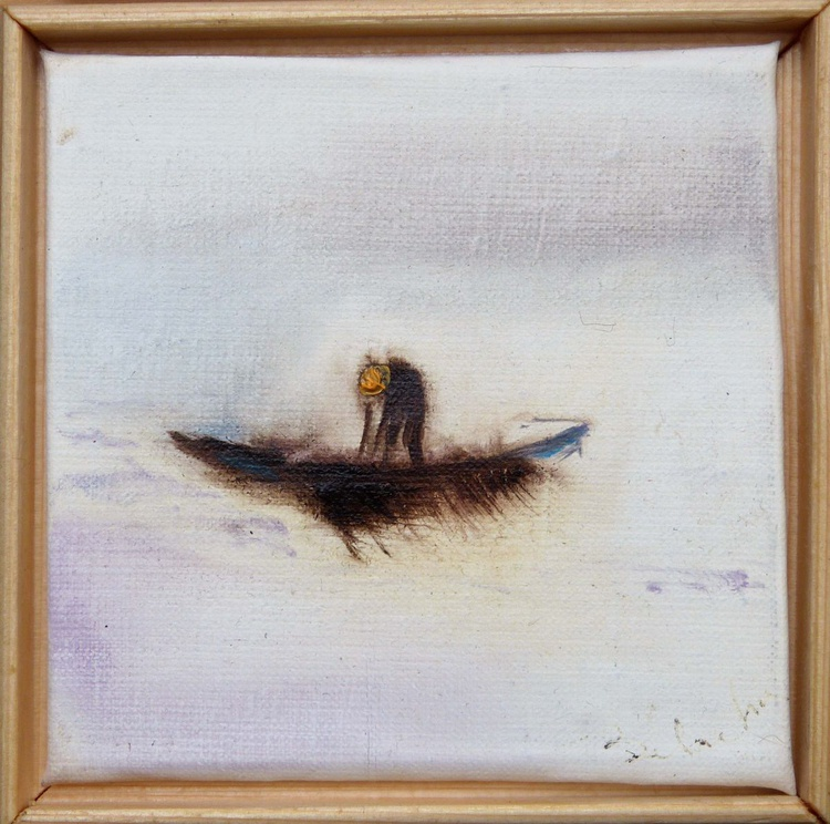 Fisherman, miniature oil painting on canvas 11x11 cm framed and ready to hang, with a surprise drawing - Image 0