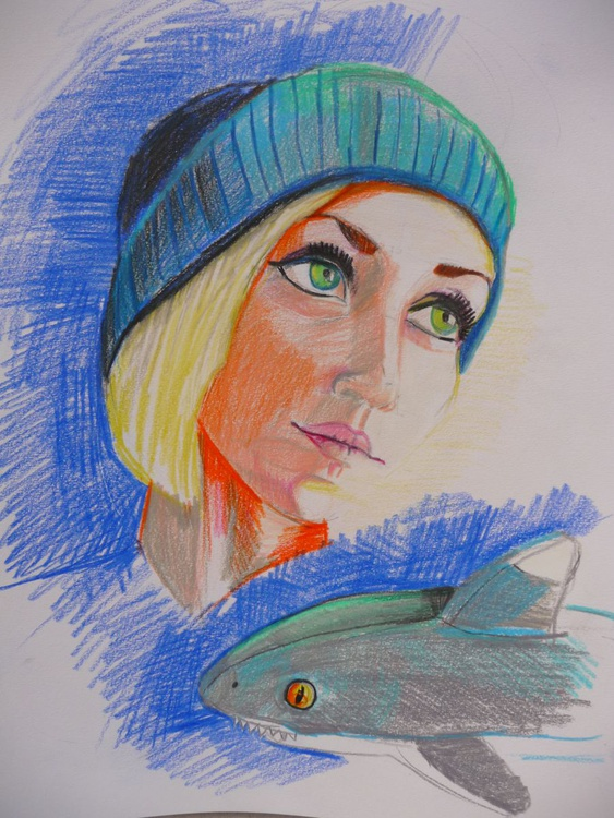 Portrait of a blonde girl with a shark - Image 0