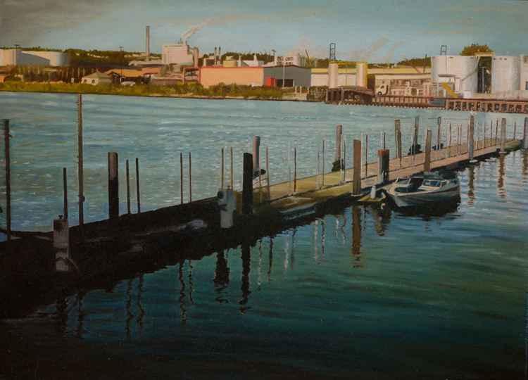 A Boat and A Bird - coastal landscape - dock - boat