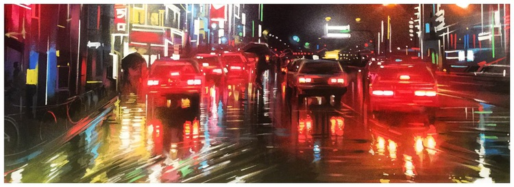 'Neon Streets' - original painting on canvas - Image 0