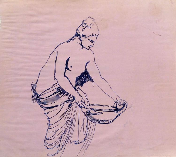 Study of Ancient Greek Sculpture, 28x25 cm - Image 0