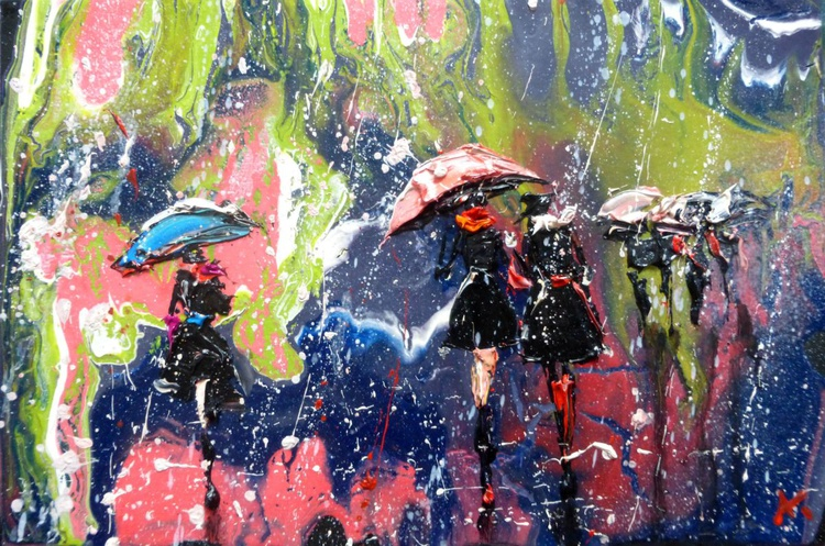 People in the rain, oil painting 30x20 cm - Image 0