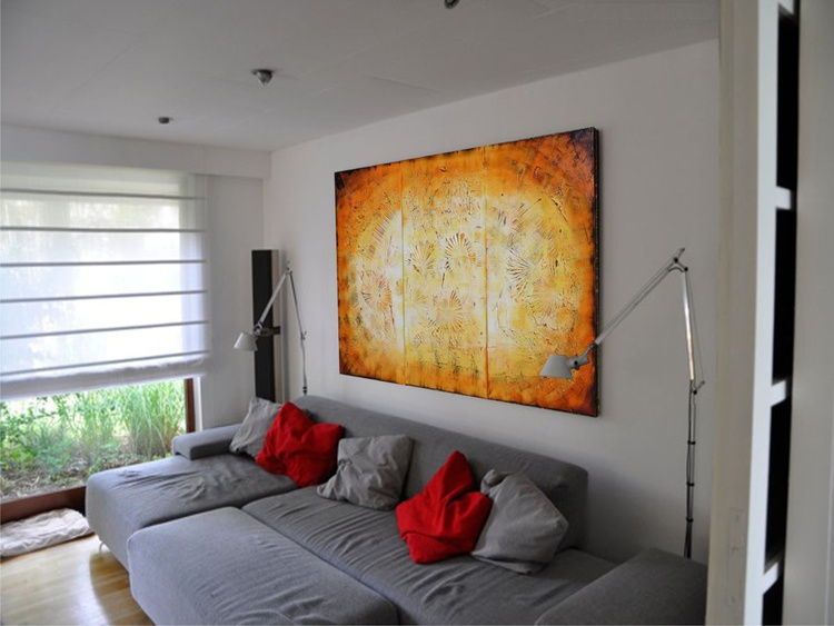 Lava orange large painting yellow textured decor original abstract art Large paintings 100x150x2 cm stretched canvas fire vulcano acrylic wall art by artist Ksavera - Image 0