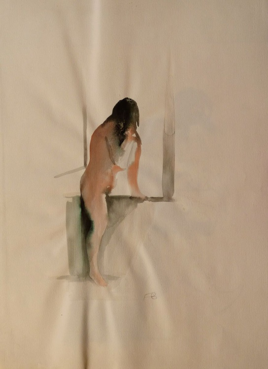 Nude by the window, ink on paper 76 x 56 cm - Image 0