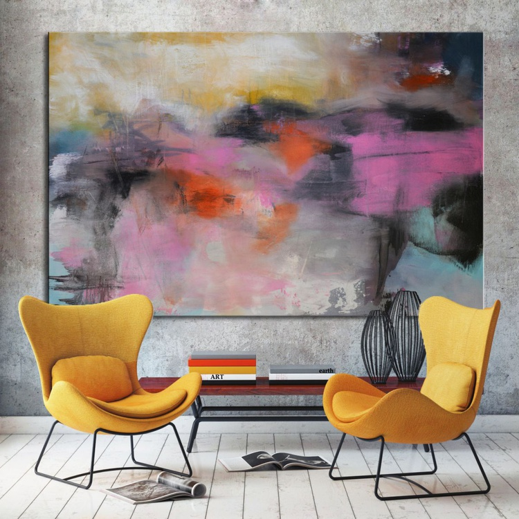 A State of High Spirits and Rites of Passage - Pink Black Abstract 60x40 - Image 0