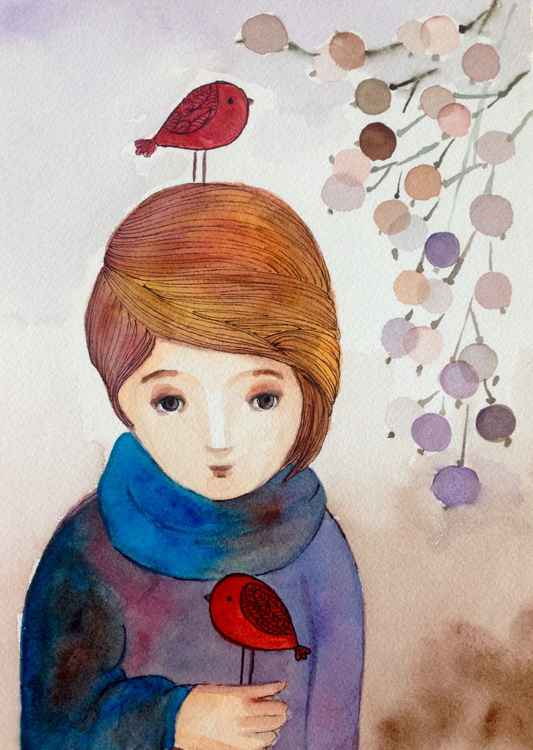 Girl and her birds -