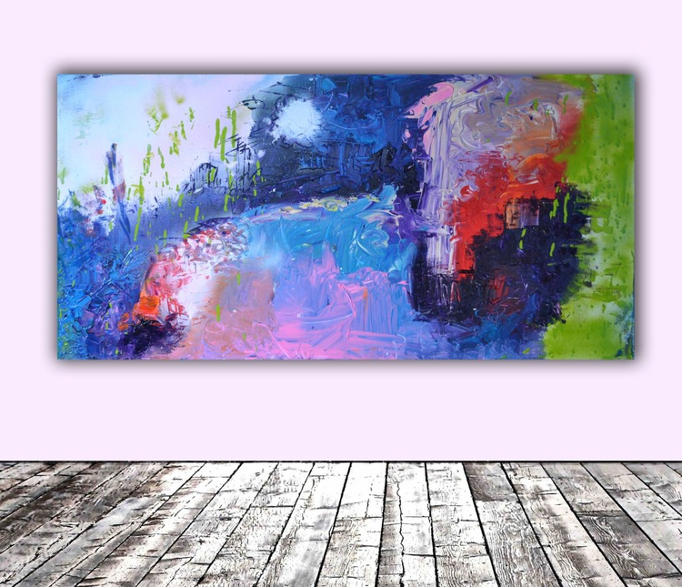 Beyond the Clouds - Large Modern Ready to Hang Abstract Painting, Office Wall Decoration - Image 0