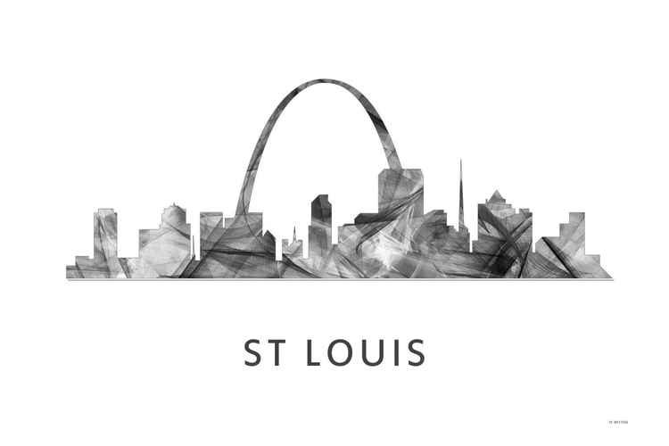 St Louis Missouri Skyline WB BW