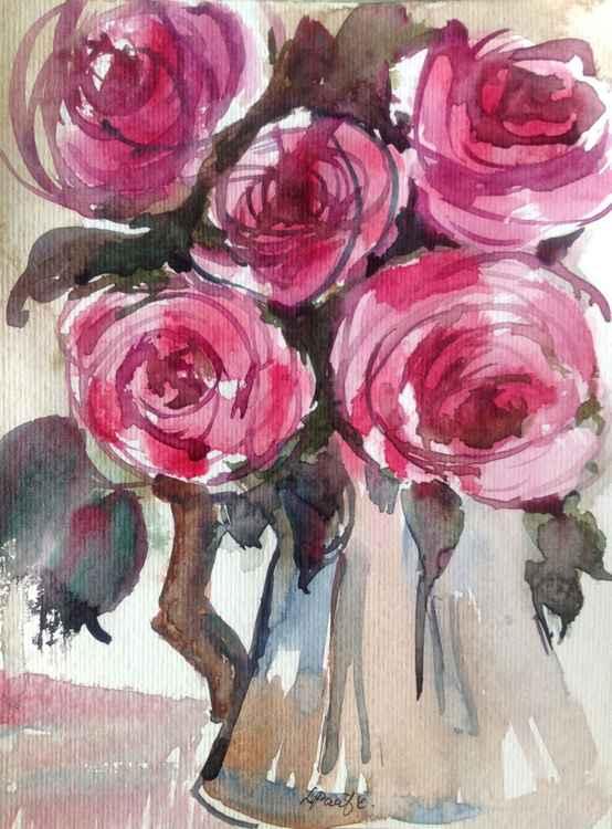 Floral Roses in Vase -