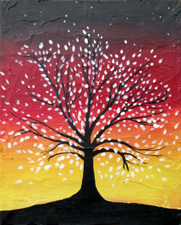 "landscape tree  colour abstract ""The AutumnTree"" painting art canvas - 16 x 20 inches - Image 0"