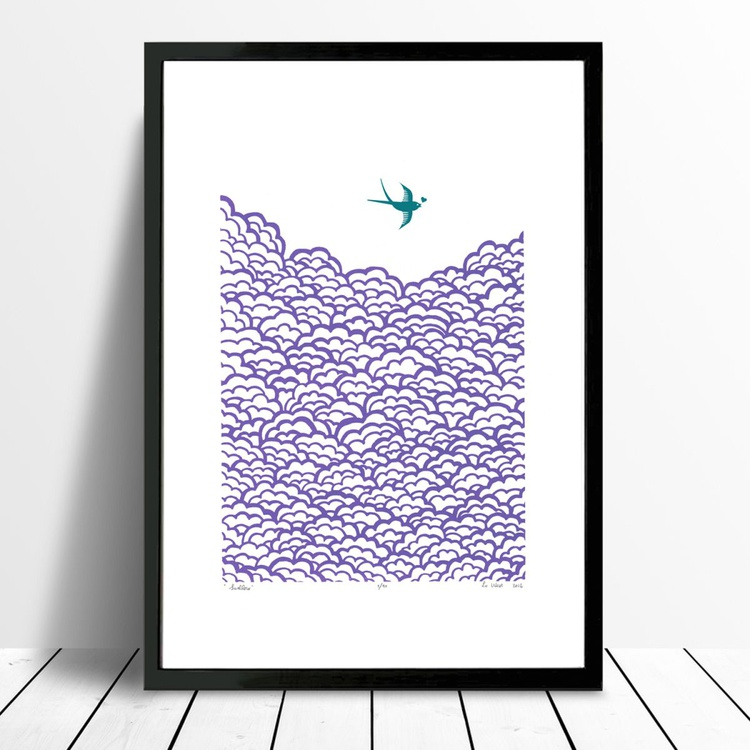 Swallow A3 size in amethyst and biscay bay - Framed - FREE Worldwide Delivery - Image 0
