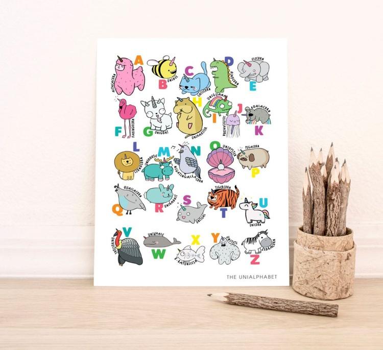 A4 Illustrated Unicorn Alphabet Nursery Art Print - Image 0
