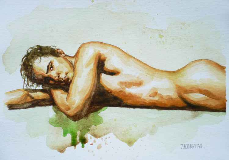 original art watercolour painting male nude man on paper #16-5-1-02