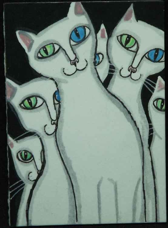 Some White Cats Have a Blue Eye and a Green Eye Original Mini Painting -