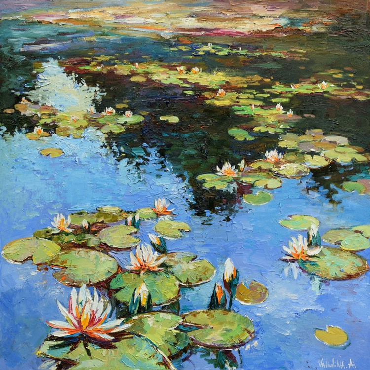 Water lilies Large Oil painting 90 x 90 cm Free Shipping - Image 0
