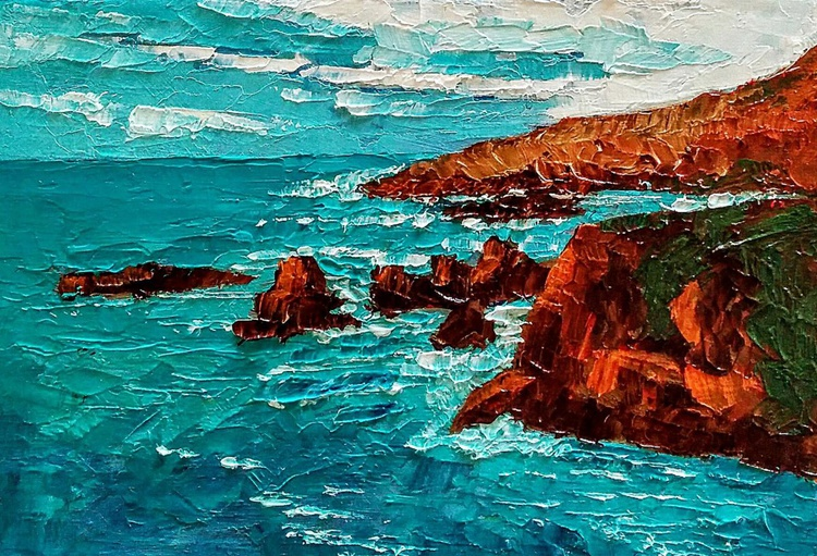 Framed Small Paintings, Cool Blues, Seascape - Image 0