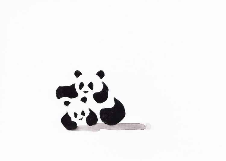 Two pandas (Linocut) 1521A