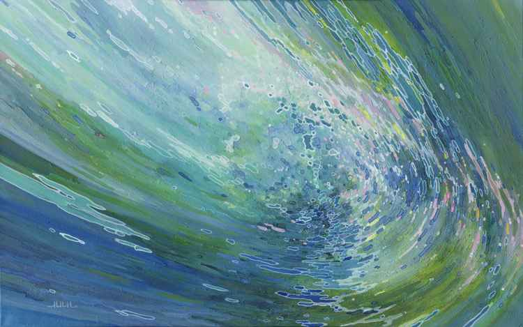 "Liberation 36 x 48 x 1"" Underwater Reflections Mixed Meduim -"